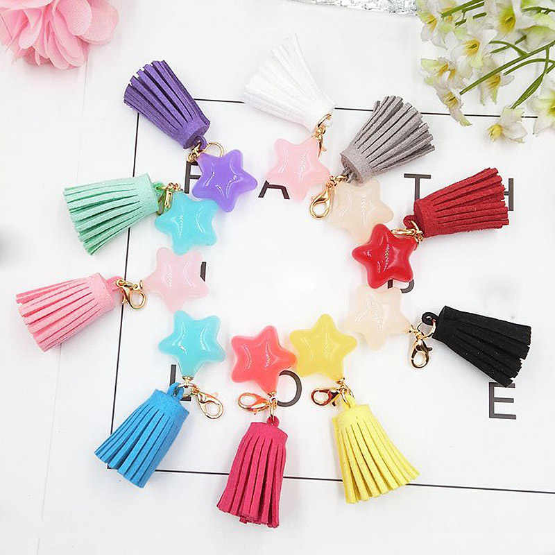 1PC Key Chain Graceful Beautiful Handmade Resin Star Tassel Candy Color High Quality Exquesite 10 Colors Unique 2019 New Arrival