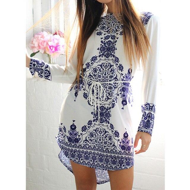 New Summer Style White Blue Porcelain Long Sleeve Loose Casual Mini Keyhole  Back Hem Tile Prints Plus Size Beach Vestido Dress 183fbc5be3e8
