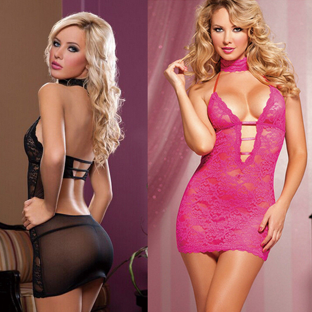 3Pcs NEW Women\'S Sexy Lingerie Babydolls Exotic  Sleepwear Underwear Lace Floral Backless BLACK Female Dress Summer Set