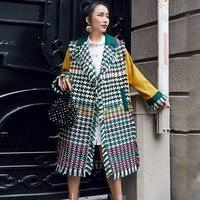LANMREM 2018 New Arrival Green Plaid Tassel Patchwork Jackets For Women Autumn Fashion Contrast Color Long Type Caot YF03706