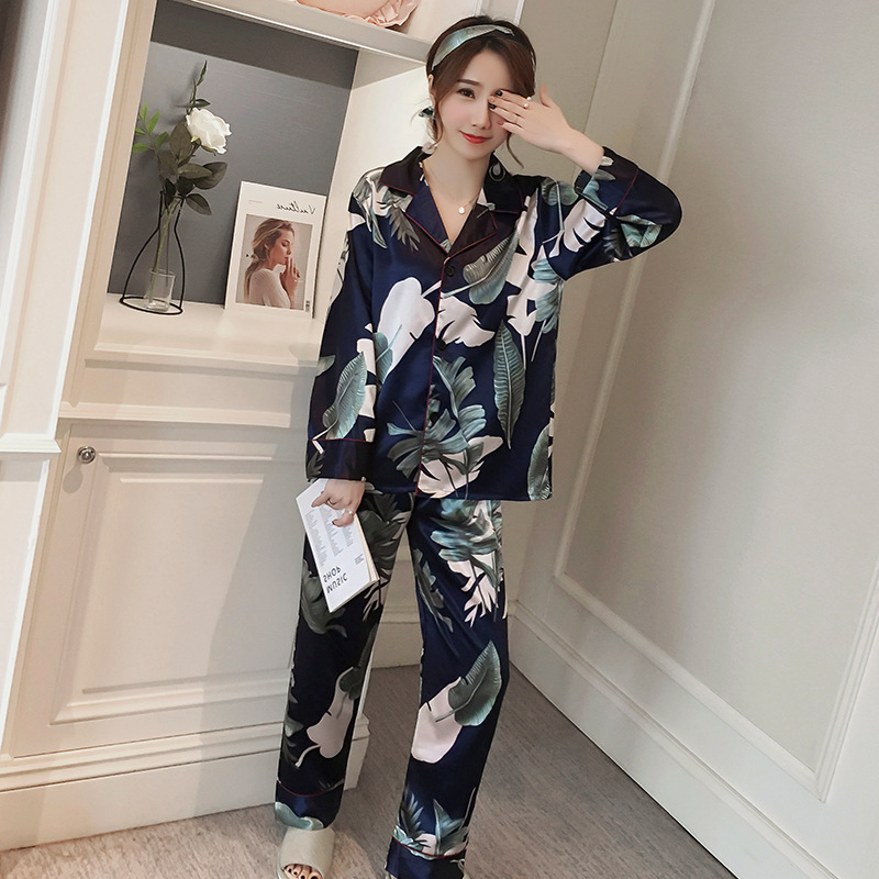 2019   Pajamas   For Women Spring Printing Pattern   Pajama     Set   Sleepwear Pijama Mujer Silk FemaleLong Sleeve Trouser Two Paper Suit