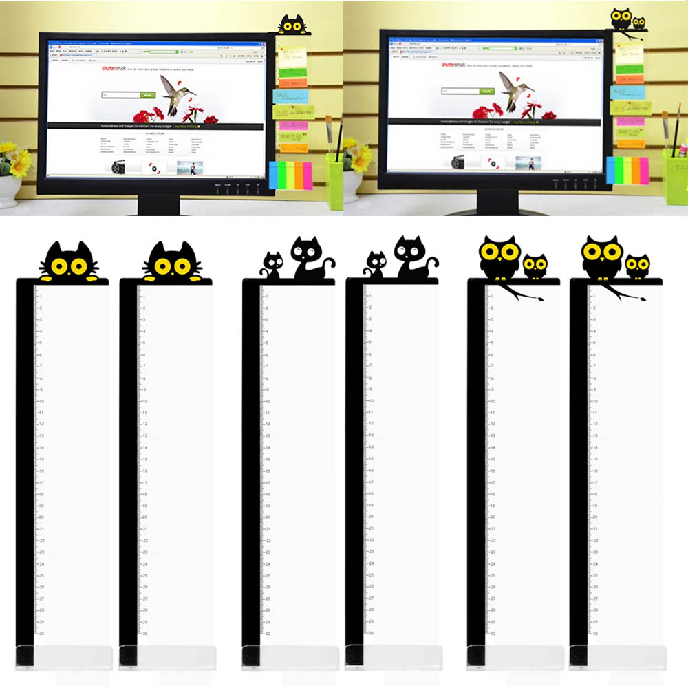 1 Pairs Cute Cartoon Acrylic Message Memo Notes Tabs Board With Ruler For Computer PC Laptop Television Monitor Screens
