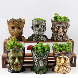 Resin Flower Pots For Garden Planters Creative Cartoon Statue & Animal Desktop Bonsai Pots Succulent Plant Pot Flowerpot