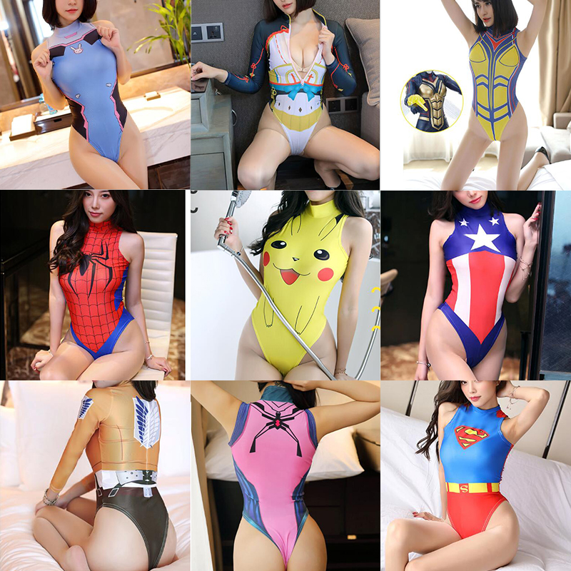 <font><b>Sexy</b></font> Costumes for Women Anime <font><b>Cosplay</b></font> DVA Spider Man Attack on Titan Overwatch Halloween Erotic Lingeire Sleeveless Underwear image