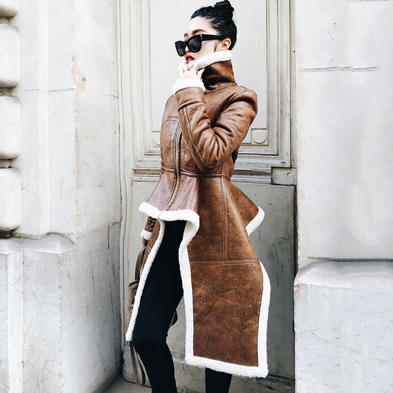 Brown 2018 Irrégulière À Longues Automne Couleur Pied Zipper Hiver Col Manteau L111 Lambwool Spliced Brun Manches Femme Nouveau Imitation gqwUH4g