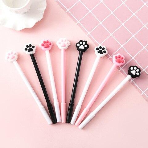 40 pcs lote criativo caneta gel da pata do gato lindo coracao rosa 0 5