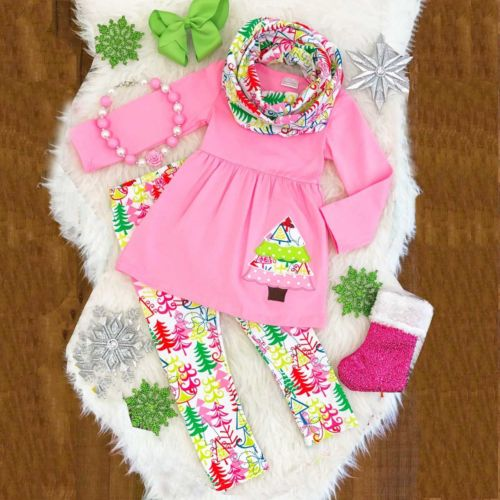 Kids Baby Girls Unicorn Outfits Clothes Dress Tops T Shirt+Long Pants Xmas Set