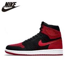 Nike Air Jordan 1 Flyknit AJ1 официальный Для мужчин Баскетбол обувь новый подлинный Официальный дышащие Спортивные кроссовки #919704-001