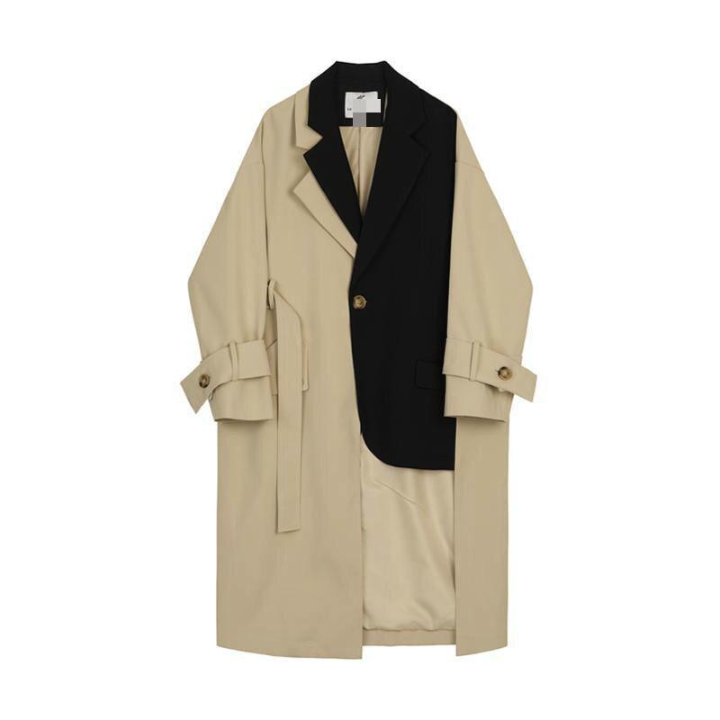 vent Long Khaki Poitrine Lâche Patchwork Longue Manteau Vestes Coupe Femmes Printemps Irrégulière coat Trench Unique E184 Zwzx7WqIT