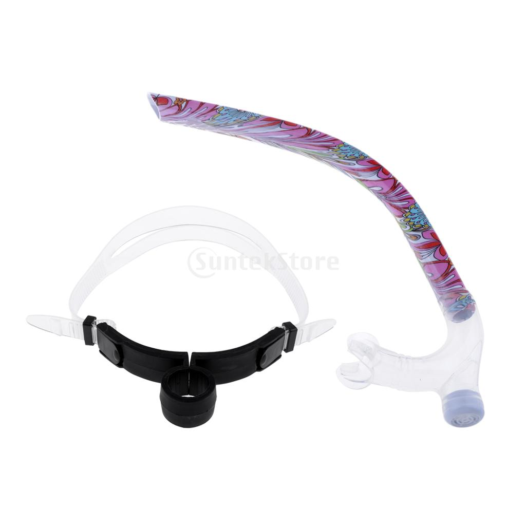 Front Snorkel for Swimmers Swimming Training Center Mount Comfort Silicone Mouthpiece Swim Snorkel Tube WAdjustable Head Strap