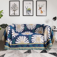 YRYIE Double Sides Soft Travel Chrysanthemum Outdoor Picnic Knit Throw Tassel Blanket Cotton Jacquard Wall Hanging Tapestry