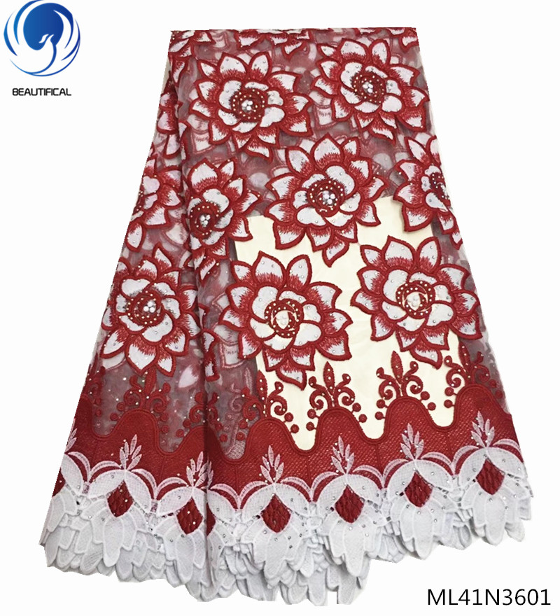 BEAUTIFICAL nigerian lace fabric 2018 high quality lace stone fabric african bridal lace fabric 5yards lot
