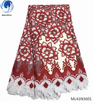 BEAUTIFICAL nigerian lace fabric 2018 high quality lace stone fabric african bridal lace fabric 5yards/lot design ML41N36