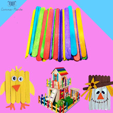 DIY Craft Supplies 50Pcs Lot Colored Natural Wood Popsicle Ice Cream Sticks Lolly Pack Cake Making Sticks Holder Party Decor cheap Unfinished Wood