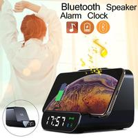 New Wireless Charging Mobile Power Bluetooth Speaker Stereo Bass Alarm Clock Charger Bluetooth Speaker Clock 4 In 1 High Quality