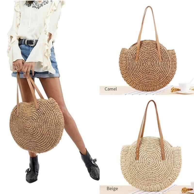 9e262cfb03f8 Round Straw Shoulder Bag Women Hand Woven Rattan Summer Beach Bag ...