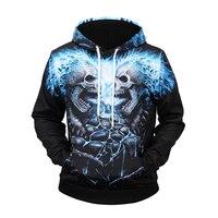 New men/women naked eye creative 3D skull hoodies streetwear loose large size hoodie long sleeve
