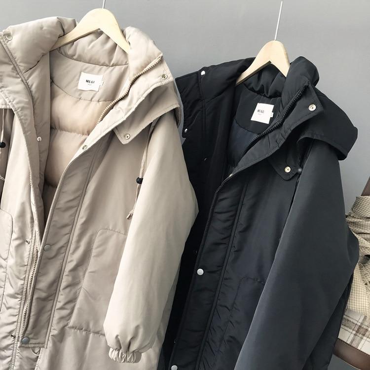 Coréenne Down gray Vêtements Coton Hiver À Automne Épais Mooirue Tea milk Black Long blue Longues 2018 Chaud Haute Lâche O Parka Manches Manteau Cou qvBnxUwIpf