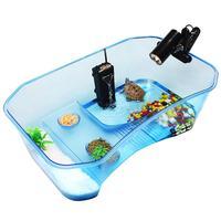 Аквариум прозрачный Черепаха коробка для разведения Reptile приседший дом с сушильной платформой для защелкивания черепаха резервуар для вод...