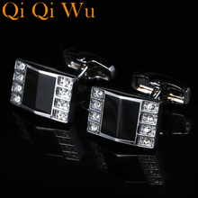 Fashion French Shirt Cufflinks For Mens Gifts Crystal Cuff links High Quality Brand button Abotoaduras Jewelry Qi Wu