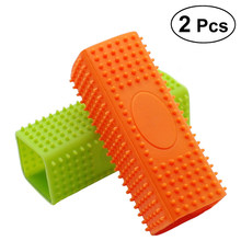2Pcs Soft Silicone Pet Hair Remover Hollow Cleaner Brush for Pets Dog Cat (Orange and Green)(China)