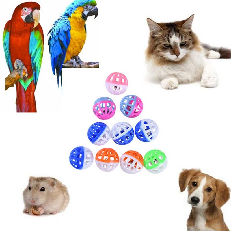 Pet Cat Toy Bell Ball 10Pcs Two Color Bell Vocal Ball Set For Parrot Bird Hamster Non Toxic Plastic Universal Toy Pet Supplies in Cat Toys from Home Garden