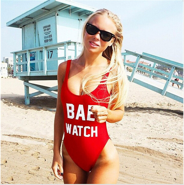 New arrival BAE WATCH Letter women swimsuit 2016 bodysuit one piece swimwear women sexy beach swimwear women red black monokini