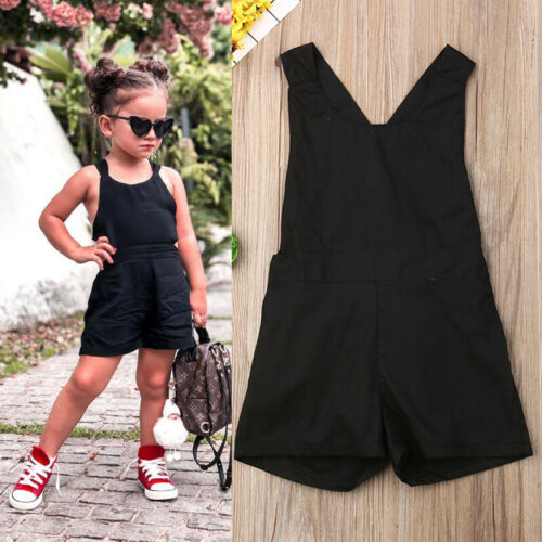 2019 New Toddler Baby Girl Kids Sleeveless   Romper   Jumpsuit Straps Crossover Clothes Summer Black One Pieces   Rompers