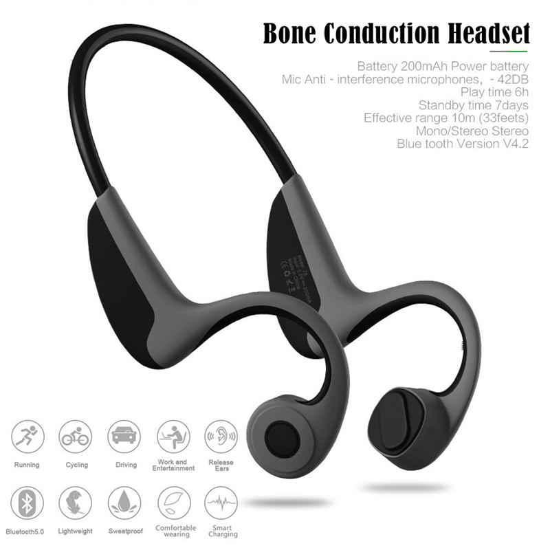 Gorący AMS-5.0 Stereo bezprzewodowy zestaw słuchawkowy Bluetooth pasek na szyję słuchawki z przewodnictwem kostnym słuchawki gratis dla sportów na świeżym powietrzu