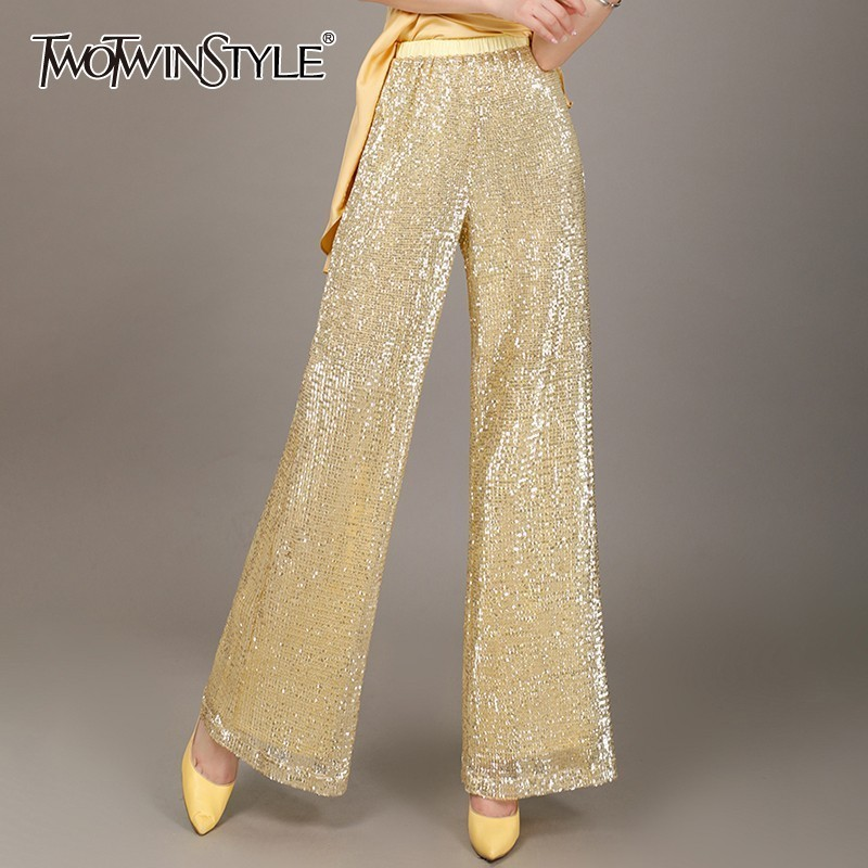 TWOTWINSTYLE Sequined Patchwork   Wide     Leg     Pants   For Women High Waist Slim Big Size Trousers Female Summer 2019 Fashion New