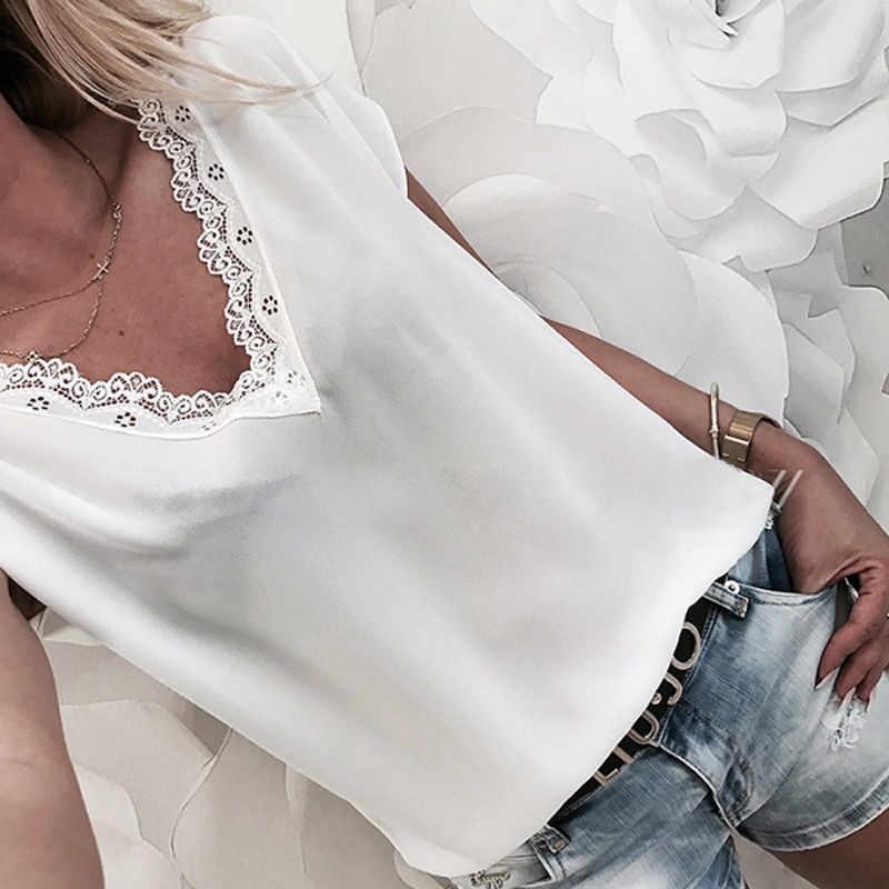 ¡Novedad de 2019! Blusa de encaje de manga corta para mujer, Blusa holgada de Chifón con cuello en V informal de verano para mujer, blusas de encaje de talla grande