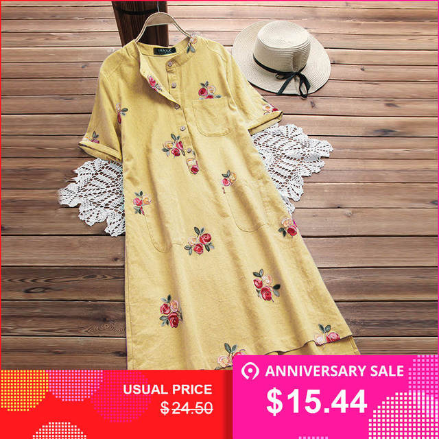 5e1f88b9efab Plus Size Women Vintage Short Sleeve Embroidery Mini Dress Casual Cotton  Linen Shirt Vestido Loose Long Top Blusas Robe Femme