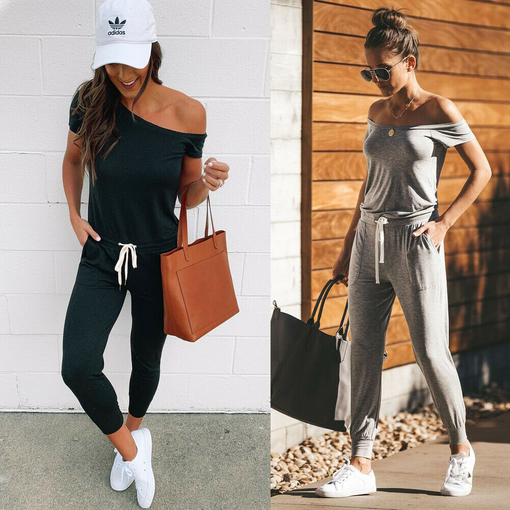 2019 New Women Ladies Solid Jumpsuit   Romper   Summer Holiday Off-Shoulder Playsuit Bodycon Casual Trousers Outfits