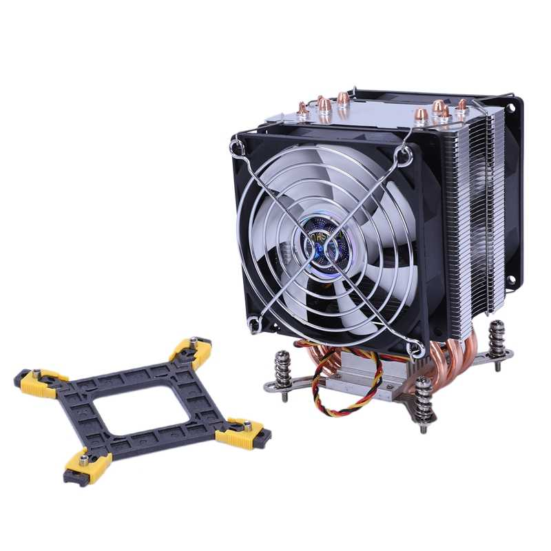 Lanshuo Tembaga Murni 4 Pipa Panas Thermal Cooler Processor untuk LGA/1150/1151/1155/1156/ 1366 Intel Multi Platform CPU Radiator