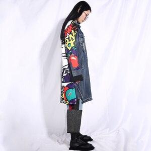 Image 4 - EAM veste jean à manches longues, nouvelle veste jean ample grande taille, manteau femme, à manches longues, à motif bleu, à la mode, printemps automne 2020