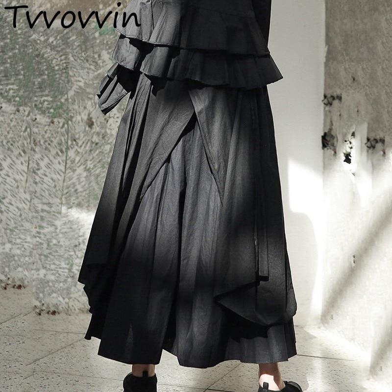 TVVOVVIN High Quality 2019 Spring Black Personality Multi layered Split Asymmetrical Long Skirt  New Women's E700-in Skirts from Women's Clothing    1