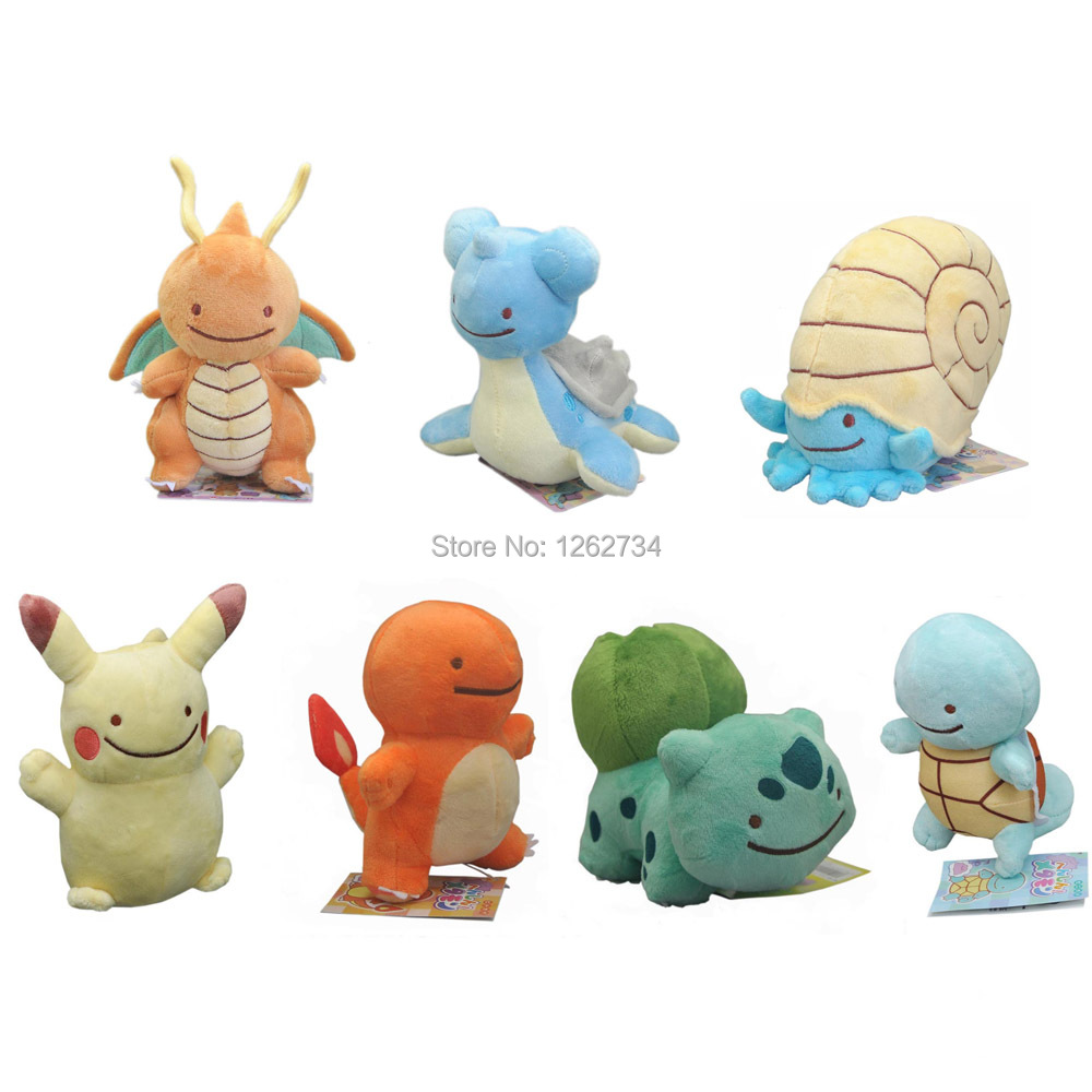 10 Lot 7 Styles Cute 13 15CM Ditto Metamon Lapras Dragonite Pikachu Squirtle Bulbasaur Charmander Plush