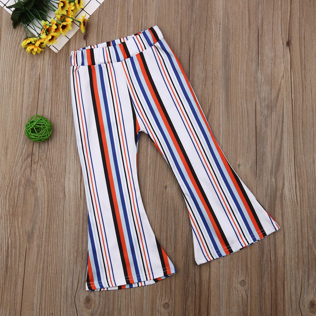 2019 Toddler Baby Kid Girls Pant High Waist Stripes Wide Leg Bell Bottom Pants Elastic Waist Long Flare Pants Boot Cut Trousers