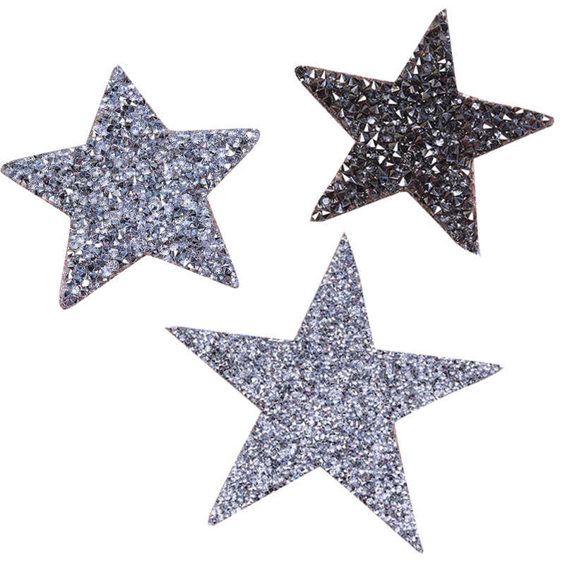 Железные Стразы для одежды с кристаллами, нашивки в виде звезд, наклейки с бриллиантами, пентаграмма, серый, серебристый, черный цвет, ткань для шитья одежды
