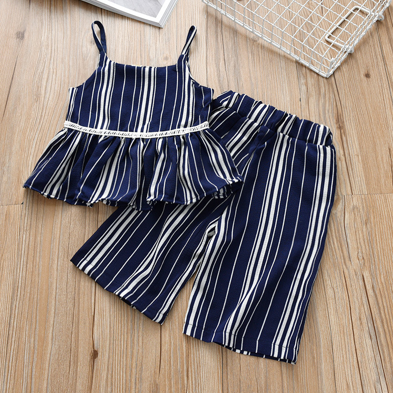 Girls Set Summer Cotton 2019 New Medium and Small Children Striped Sling Tops Wide Leg Pants baby clothes in Clothing Sets from Mother Kids