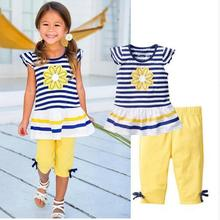 Kids Girls Set Summer 2019 Striped Sunflower Daisy Sun Flower Cotton Childrens Clothing