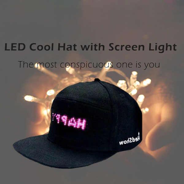 87478b3906c 2018 New Fashion LED Screen Light Cool Hat Smartphone Controlled Waterproof  Baseball Cap BS88