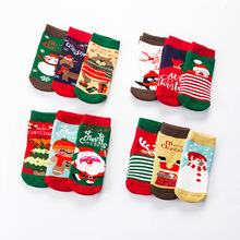 New wholesale Christmas cartoon baby thick warm boys and girls towel 3 pairs of packaging