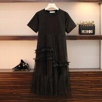 L 5XL Plus Size Women Mesh Dress Summer 2019 Short Sleeve T shirt Patchwork Mesh Ruffle Loose Casual A Line Dresses Black