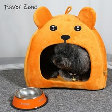 Winter Warm Bear shape Pet Dog House With Mat Cotton Flannel Tent Kennel Foldable Travel Doggy Bed Cave Cats Supplies