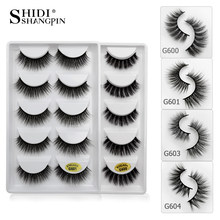 SHIDISHANGPIN 5 pairs eyelashes hand made 3d mink lashes natural long soft mink eyelashes full strip lashes makeup false eyelash(China)