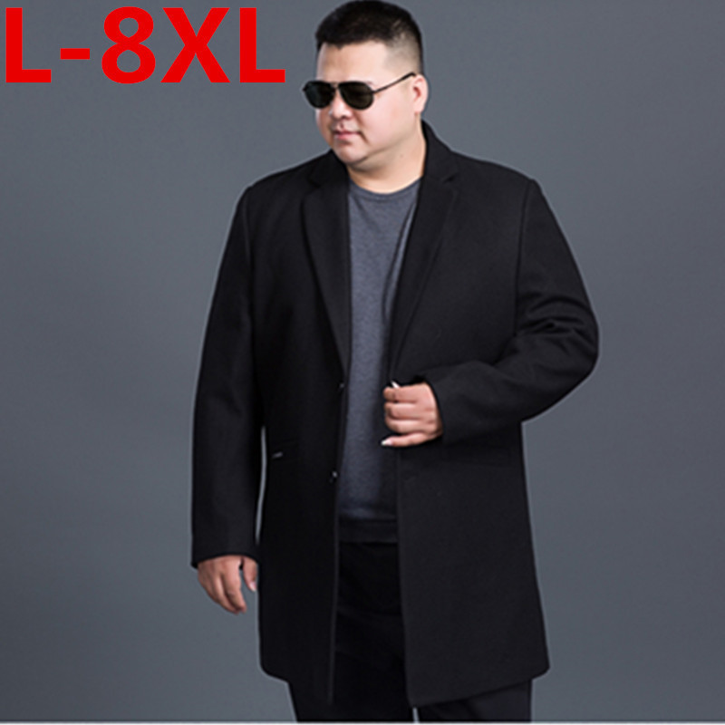 Jackets Overcoat Long-Section Single-Breasted Winter Men's Casual New Man 8xl 7xl Wool