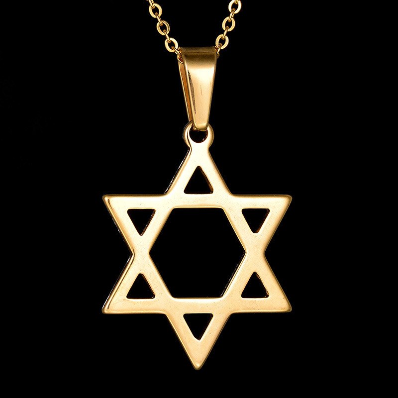 39x30mm Gold Silver Jewish Star Of David Pendant Necklace Jewelry Stainless steel Necklace Israel Gift Women Drop ship Products
