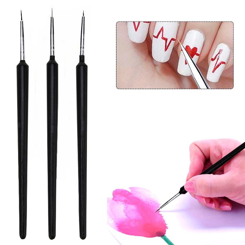 3PCS Paint Brush Fine Hook Line Pen Different Size Brush Line Drawing Pen For Oil Watercolor Painting School Office Art Supplies