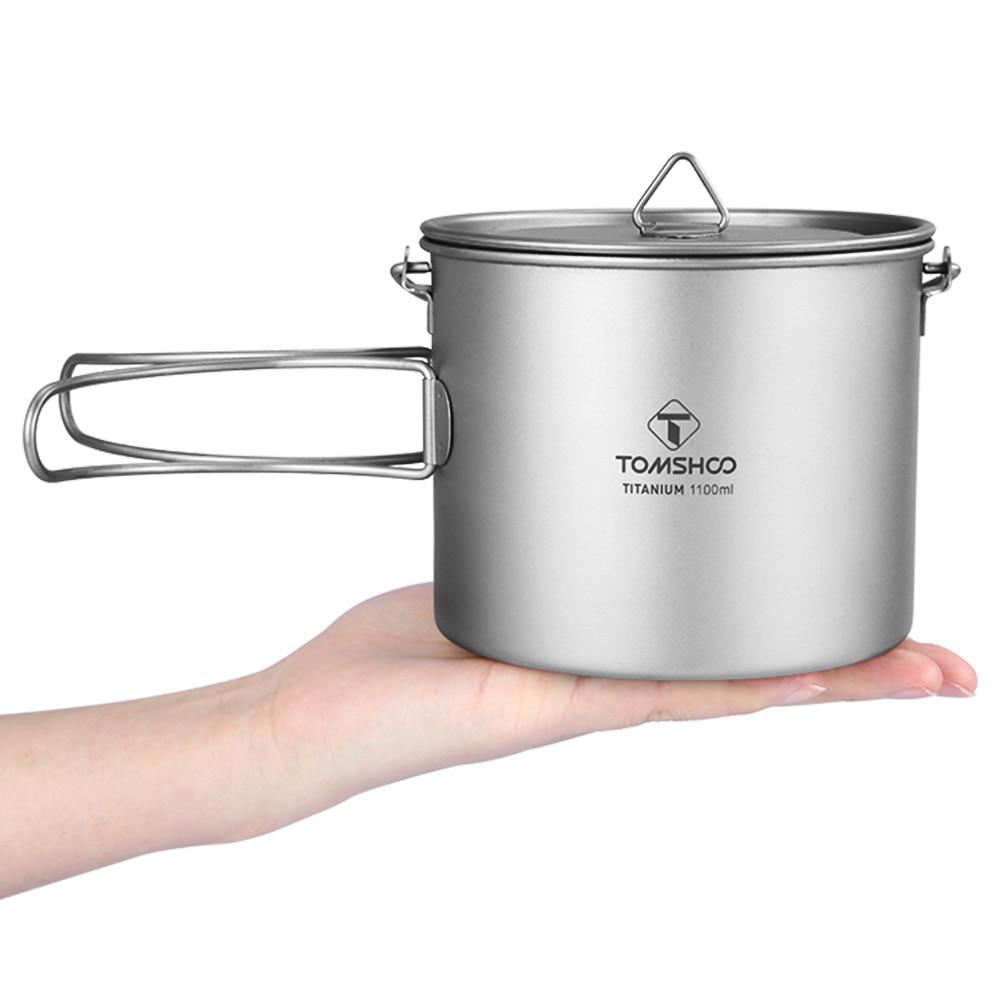 Pot de Camping TOMSHOO 1100 ml Pot en titane vaisselle de Camping Pot ultra-léger en titane avec couvercle poignée pliante cuisine extérieure